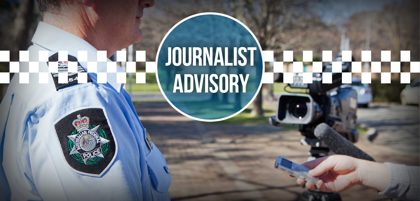 image of policeman being interviewed by journalists with text overlayed that reads journalist advisory