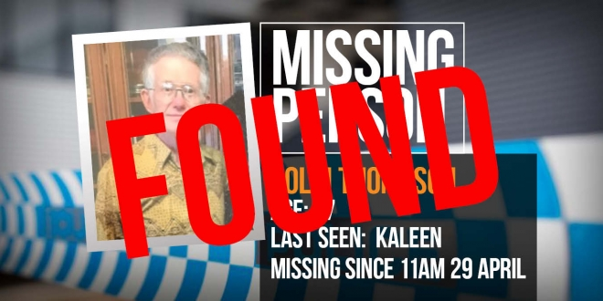 Missing person Colin Thompson found safe and well