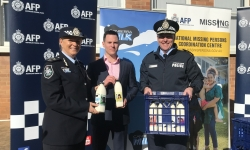 AFP Assistant Commissioner Debbie Platz, Capitol Chilled Foods Australia Bradley Clarke and ACT Policing Chief Police Officer Ray Johnson.