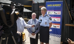 Chief Police Officer for the ACT Justine Saunders joins Minister for Police and Emergency Services Mick Gentleman to launch the Safe Summer campaign.