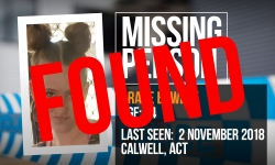 Thank you Canberra for your assistance to locate Grace.