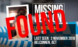Lily McTiernan has been located. Thank you Canberra for your assistance.