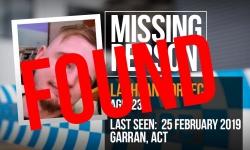 Good news Canberra! Lachlan Porreca has been found.