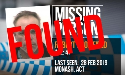 Great news Canberra! Robert has been found safe and well.