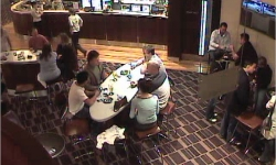 CCTV of people sitting in the Mawson Club on 1 May 2005