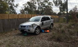 Ford Territory in Aranda which sustained extensive damage and contained items of stolen property