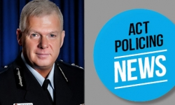 An official portrait of ACT Policing Chief Police Officer sits opposide to a blue logo that reads ACT Policing News. The text below the photo reads Chief Police Officer for the ACT Rudi Lammers announces his retirement.